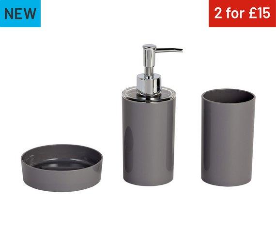 colourmatch 3 piece bathroom accessory set flint grey
