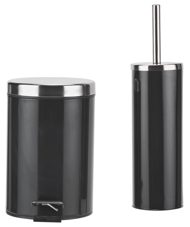 Colourmatch slow close bin and brush set jet black for Black bathroom bin and toilet brush
