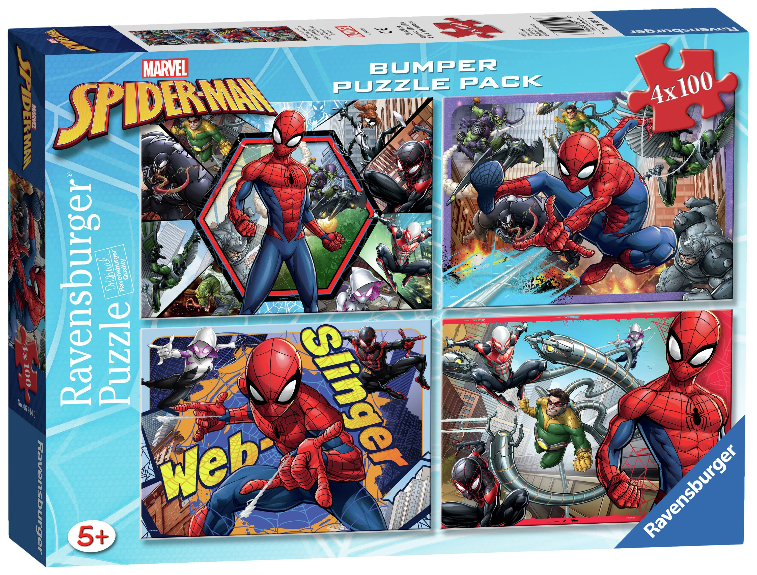 Image of Ravensburger Marvel Spider-Man 100 Piece Puzzles - 4 Pack