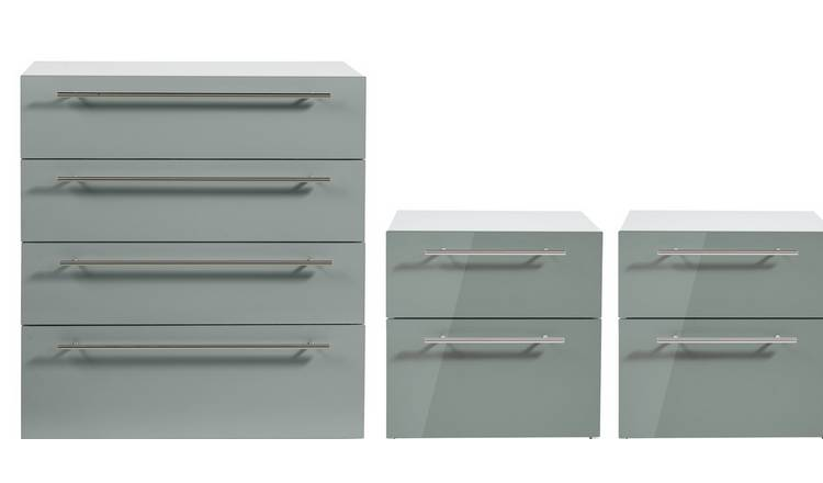 Argos Home Atlas Gloss 2 Bedside & 4 Drawer Chest Set - Grey