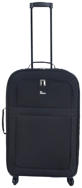 Image of Go Explore Soft 4 Wheeled Medium Suitcase - Black