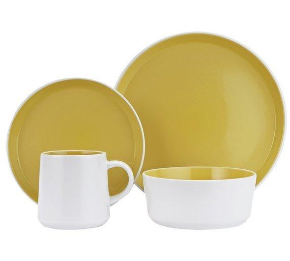 Hygena Taper 16 Piece Stoneware Dinner Set - Yellow