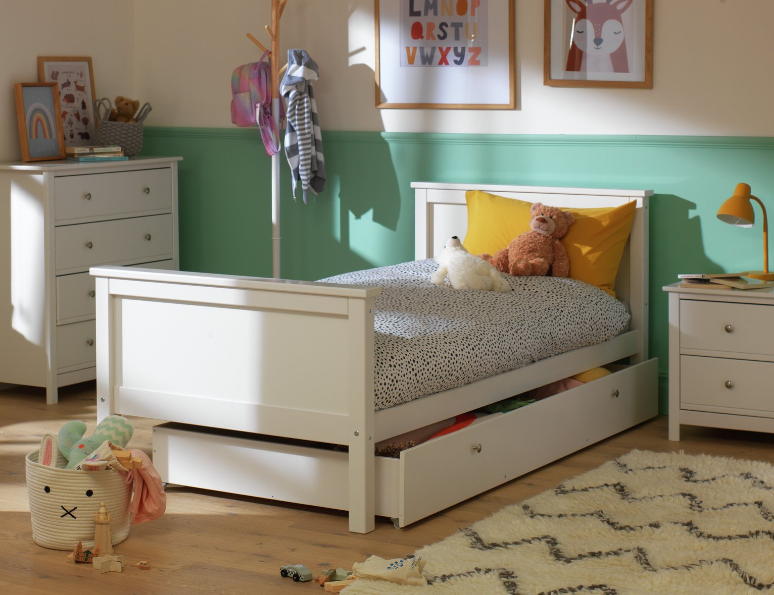 Argos Home Brooklyn White Bed Frame with Drawer
