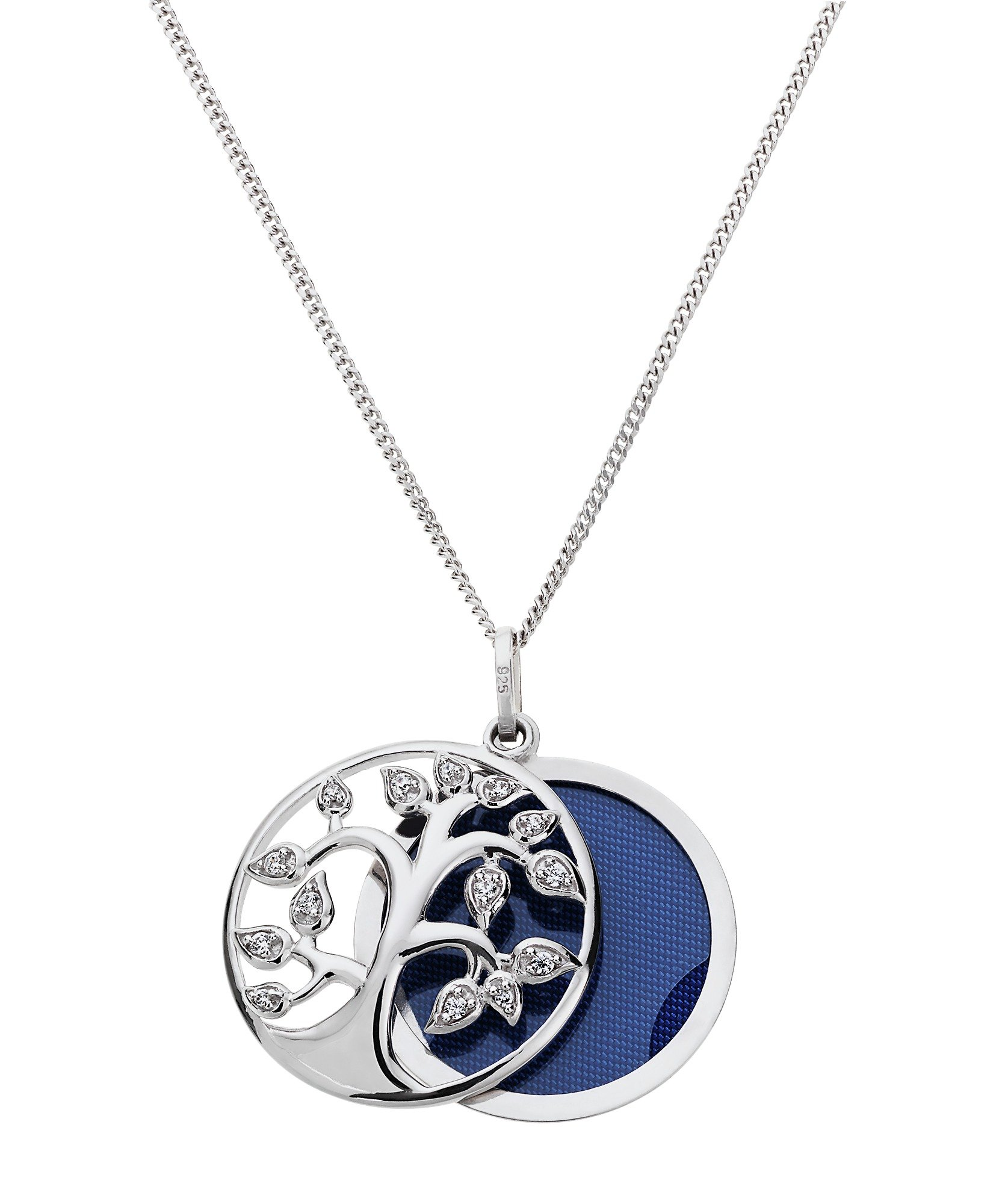 Image of Moon & Back Silver CZ Family Tree Sliding 1 Photo Locket