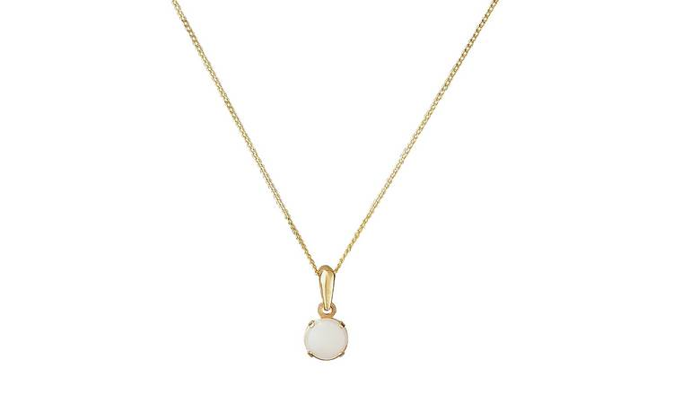 Revere 9ct Gold Opal 5mm Pendant Necklace - October