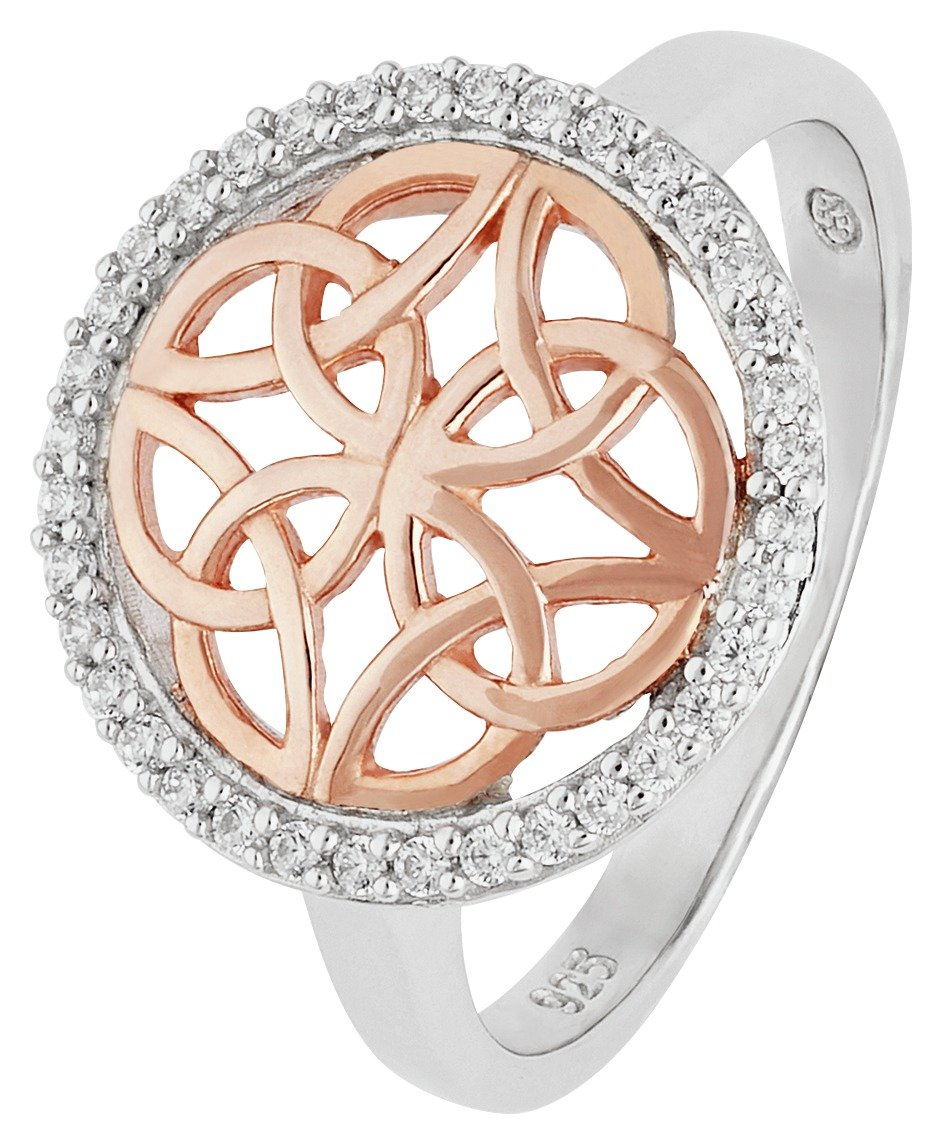 Image of Revere Silver & 9ct Rose Gold Plated Silver Celtic CZ Ring
