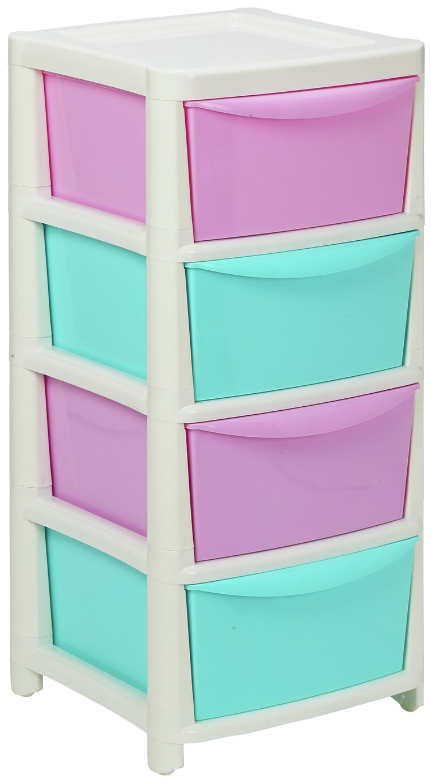 home 4 drawer storage tower pink