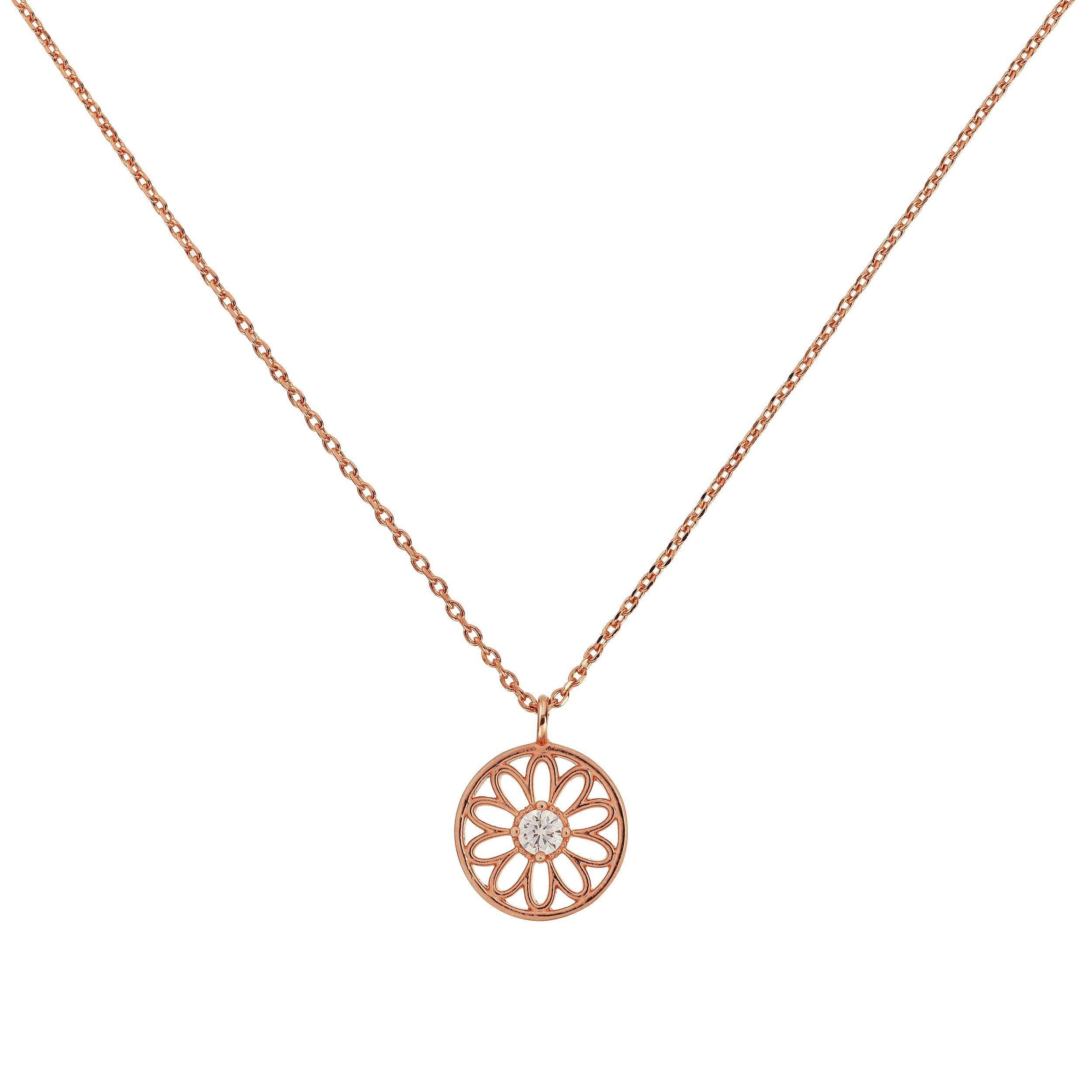 Amelia Grace 18ct Rose Gold Plated CZ Flower Disc Necklace