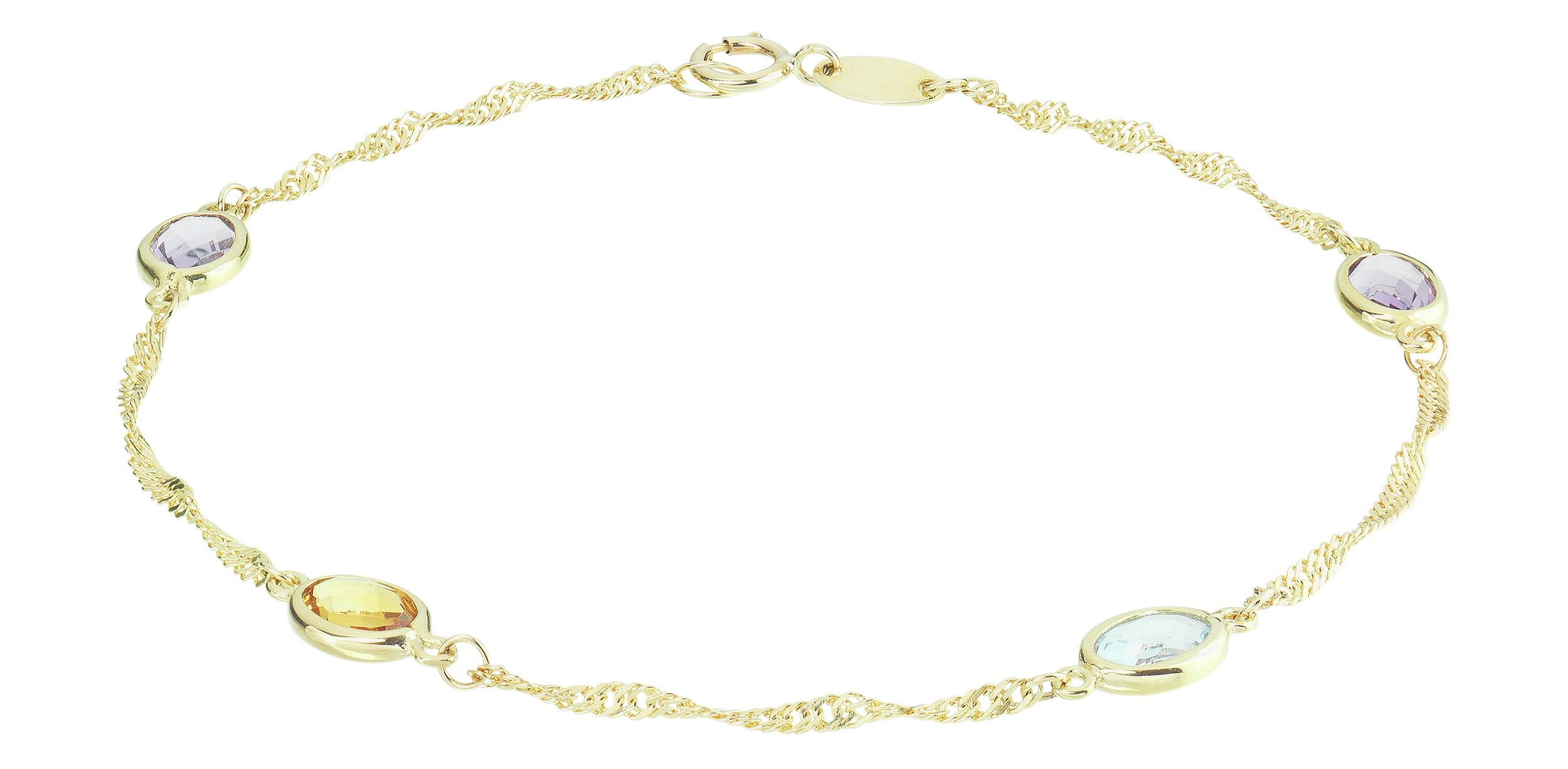 Revere 9ct Yellow Gold Semi Precious Stone Set Bracelet