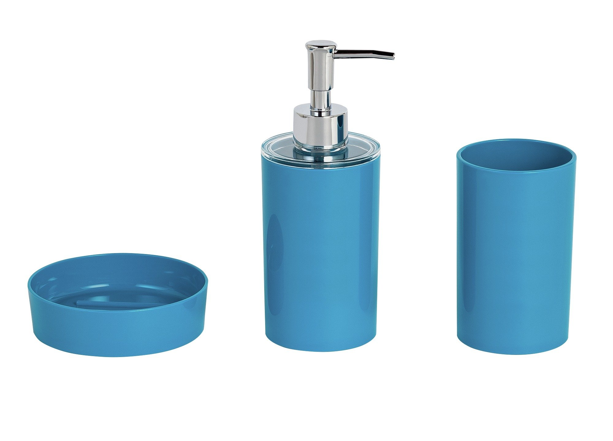 Colourmatch 3 piece bathroom accessory set teal 7036723 for Teal bathroom accessories sets