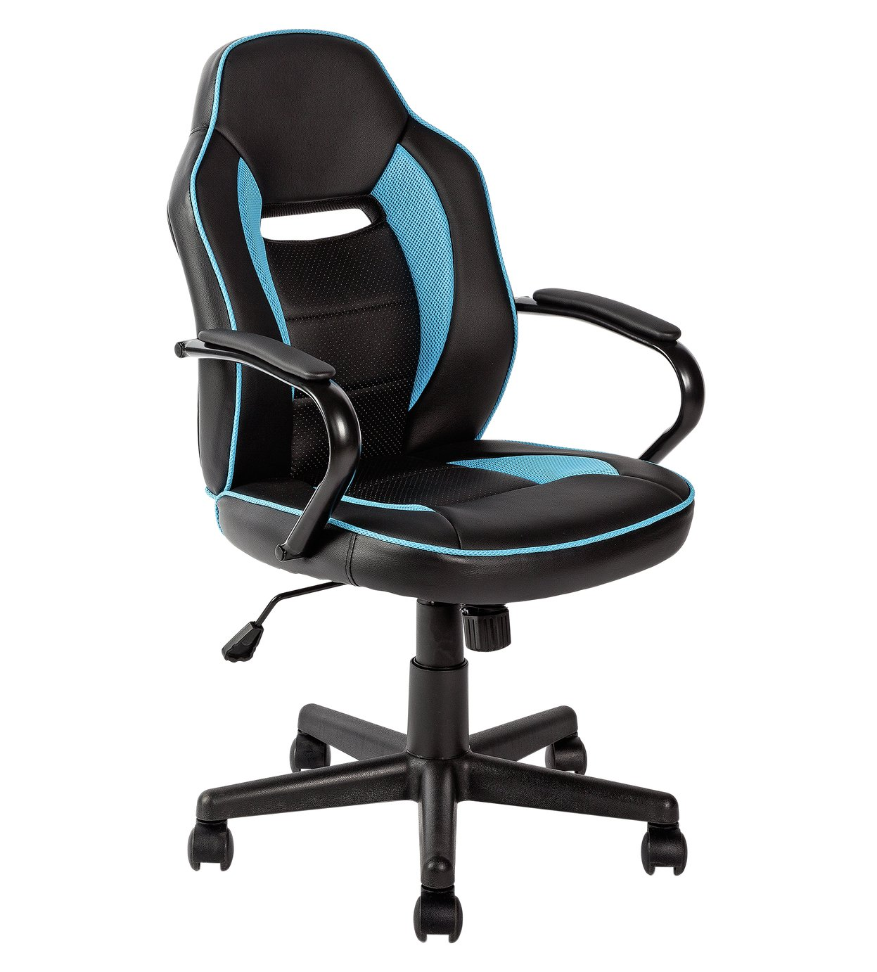 Argos Home Faux Leather Mid Back Gaming Chair - Blue & Black