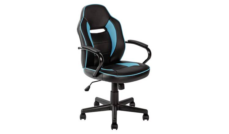 Awe Inspiring Buy Argos Home Faux Leather Mid Back Gaming Chair Blue Black Office Chairs Argos Andrewgaddart Wooden Chair Designs For Living Room Andrewgaddartcom