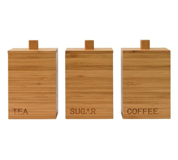 Argos Home Olsy Set of 3 Wooden Storage Jars