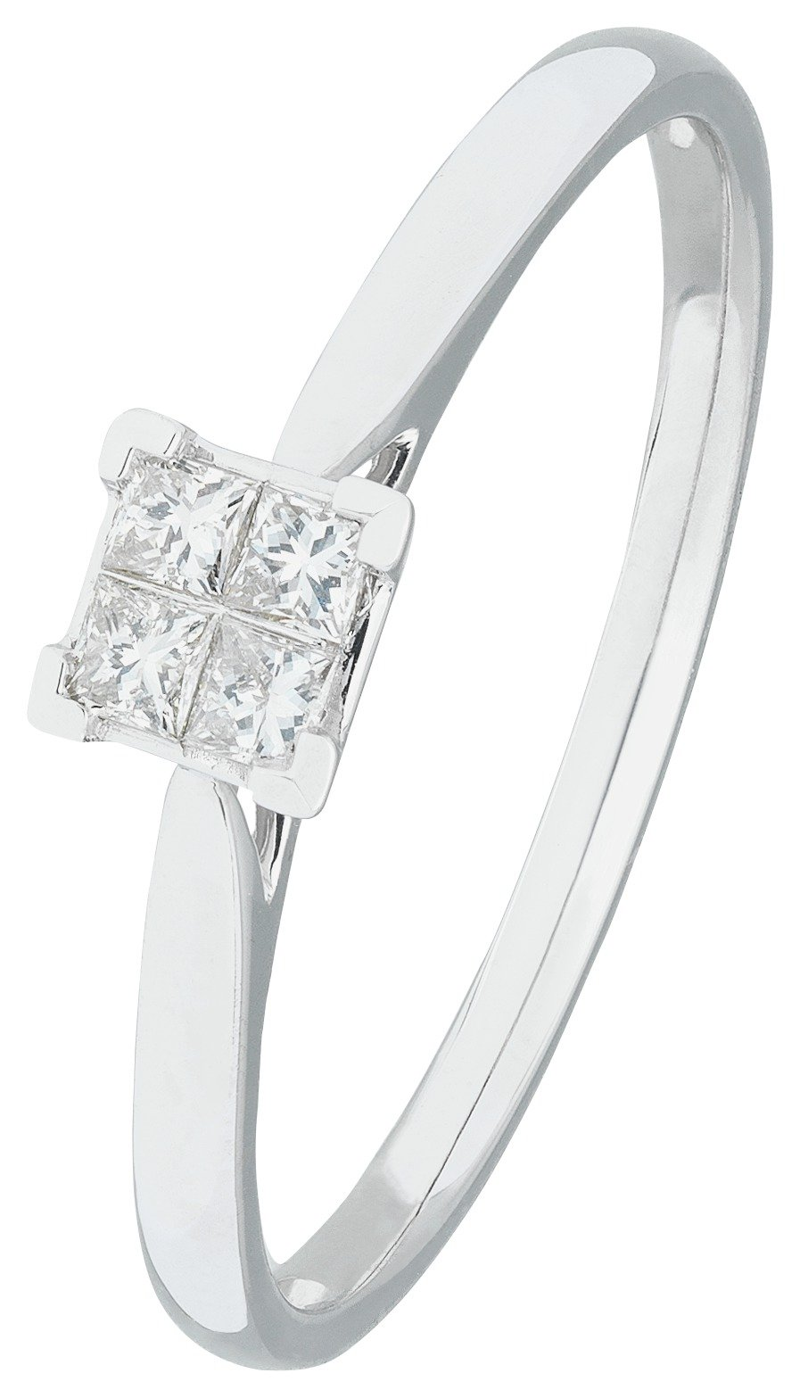 Revere 9ct White Gold 0.15ct tw Princess Cut Diamond Ring