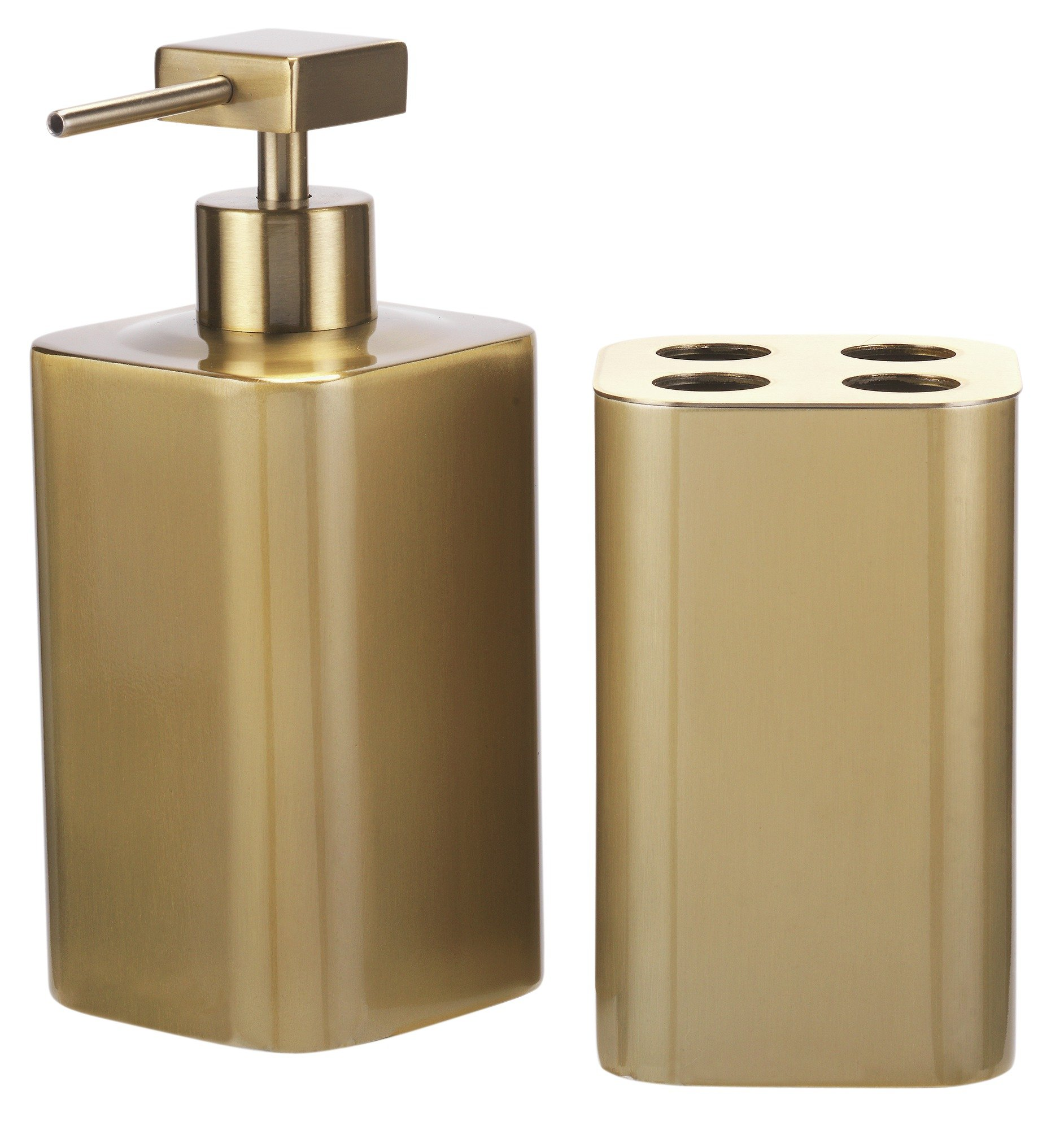 Collection 2 piece bathroom accessory set gold 7039816 for Bathroom accessories argos