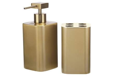 Collection 2 Piece Bathroom Accessory Set - Gold.