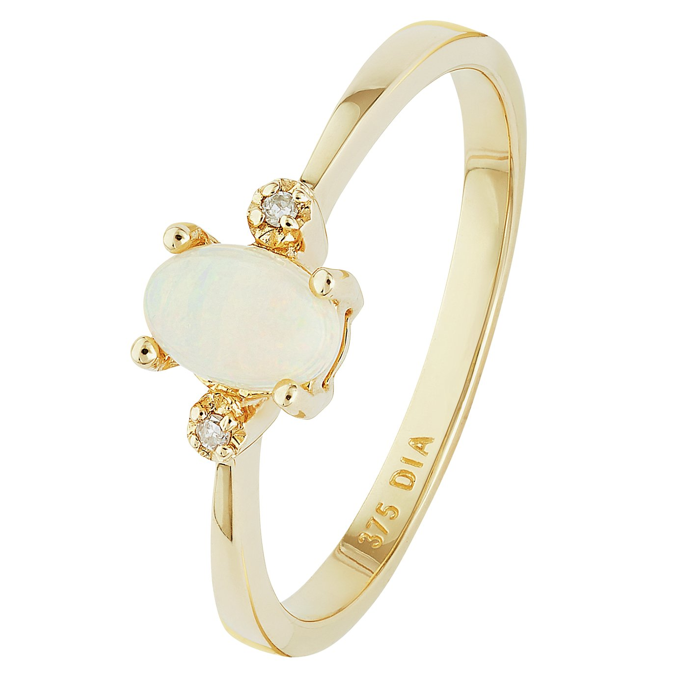 Revere 9ct Gold Opal and Diamond Accent Oval Ring - N