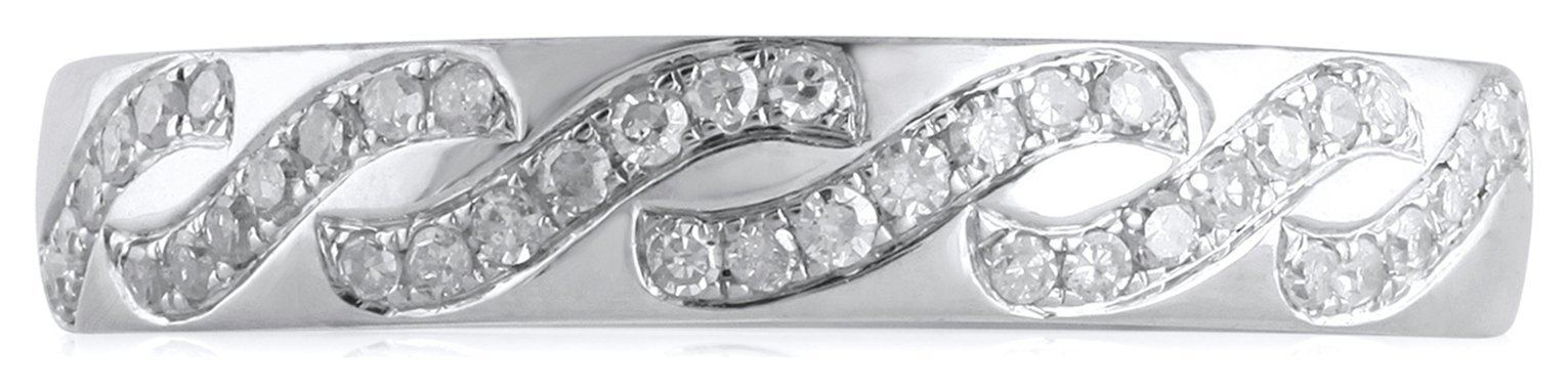 Revere 9ct White Gold 0.18ct tw Diamond Wave Band Ring - N