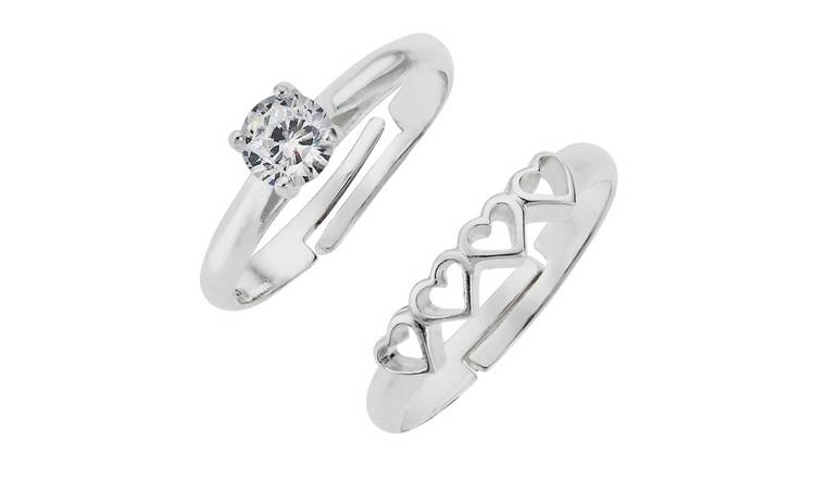 Revere Kids Sterling Silver Heart Adjustable Rings -Set of 2