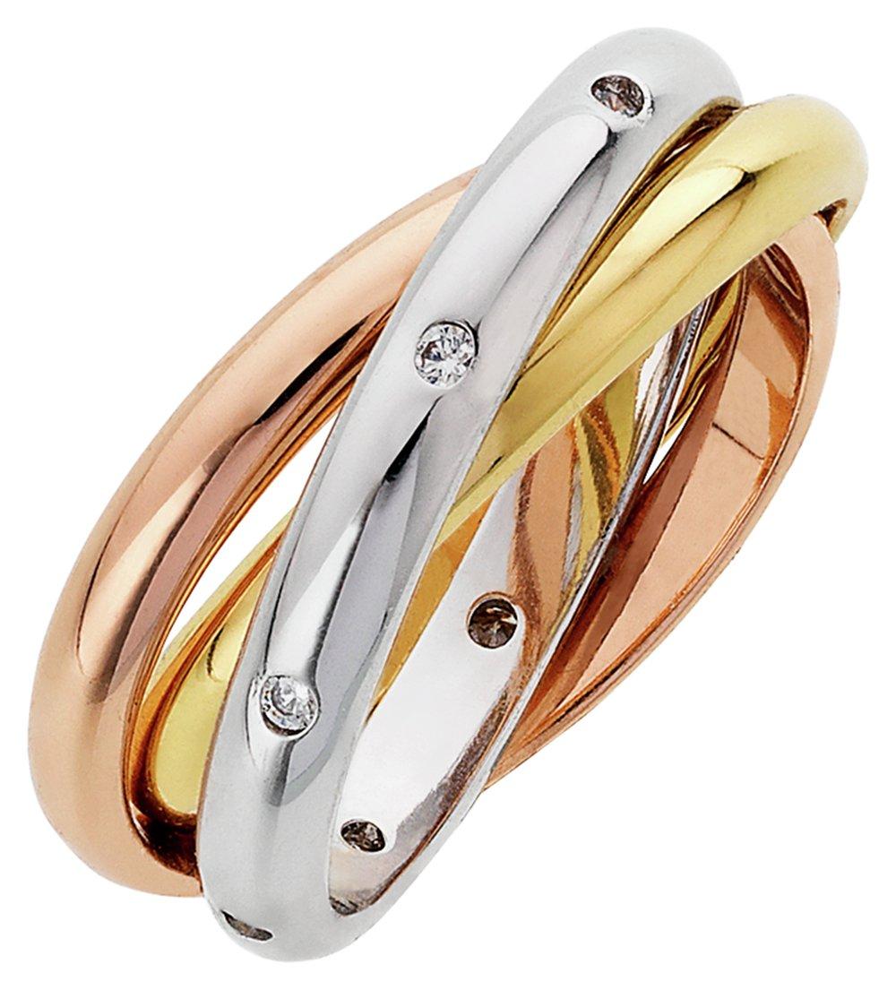 Buckley Three Tone Cubic Zirconia Russian Rings - Medium