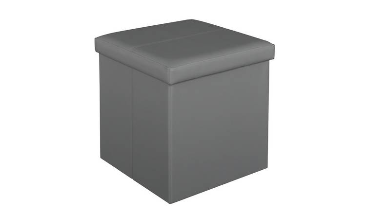 Argos Home Small Faux Leather Stitched Ottoman - Grey