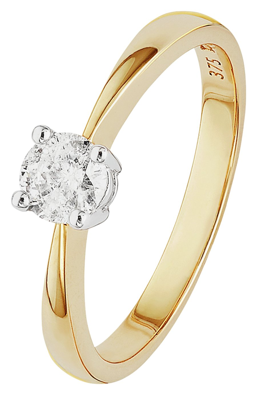 size N 9ct Yellow Gold 0.33ct Solitaire Engagement Ring