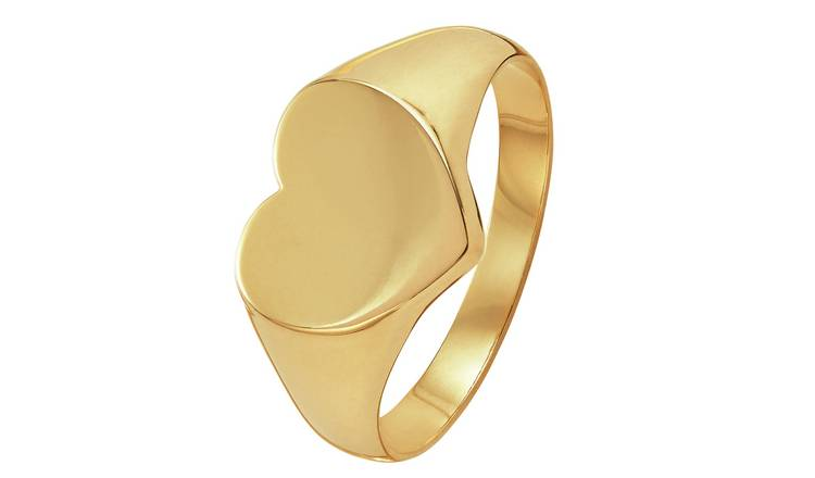 Revere 9ct Gold Heart Shaped Signet Ring - Q