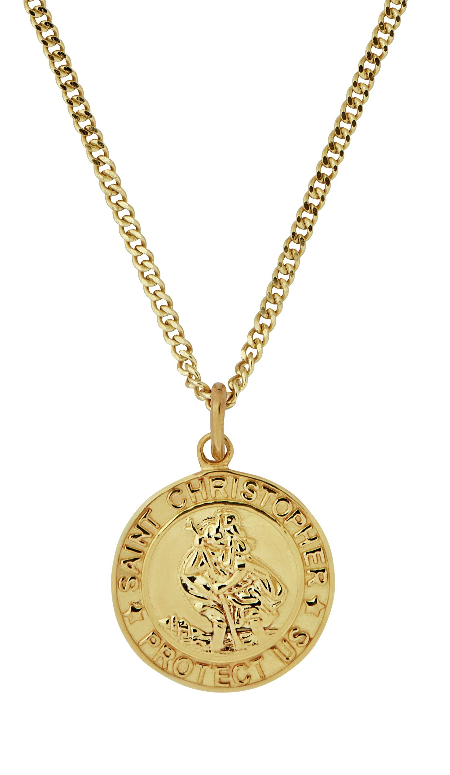 Image of Revere Men's 9ct Gold Plated Silver St. Christopher Pendant