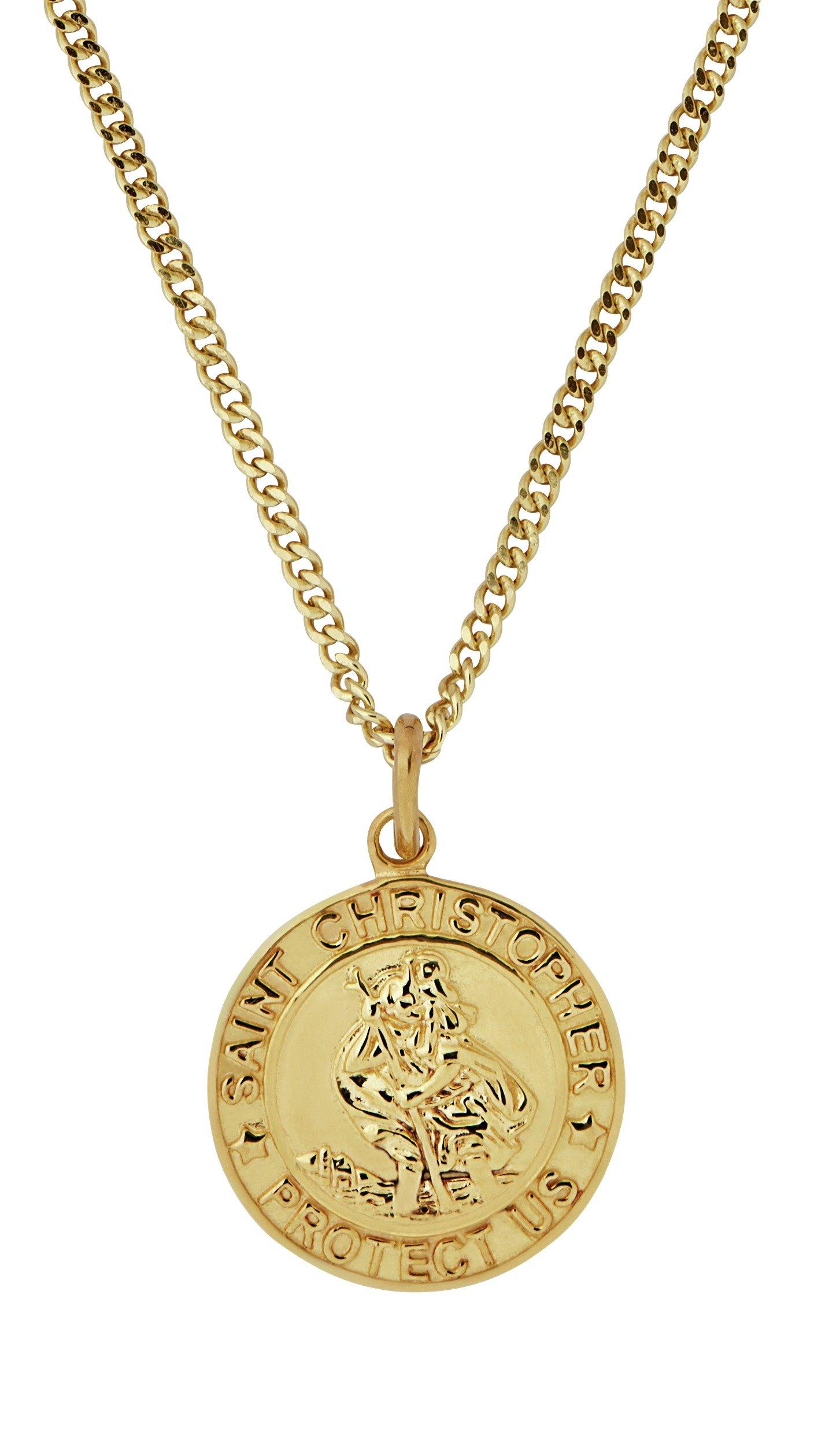 Revere Men's 9ct Gold Plated St. Christopher Pendant
