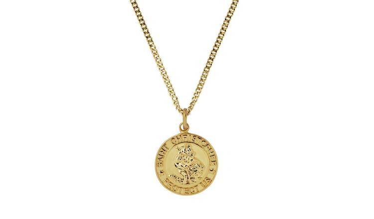 Buy Revere Men S 9ct Gold Plated Silver St Christopher