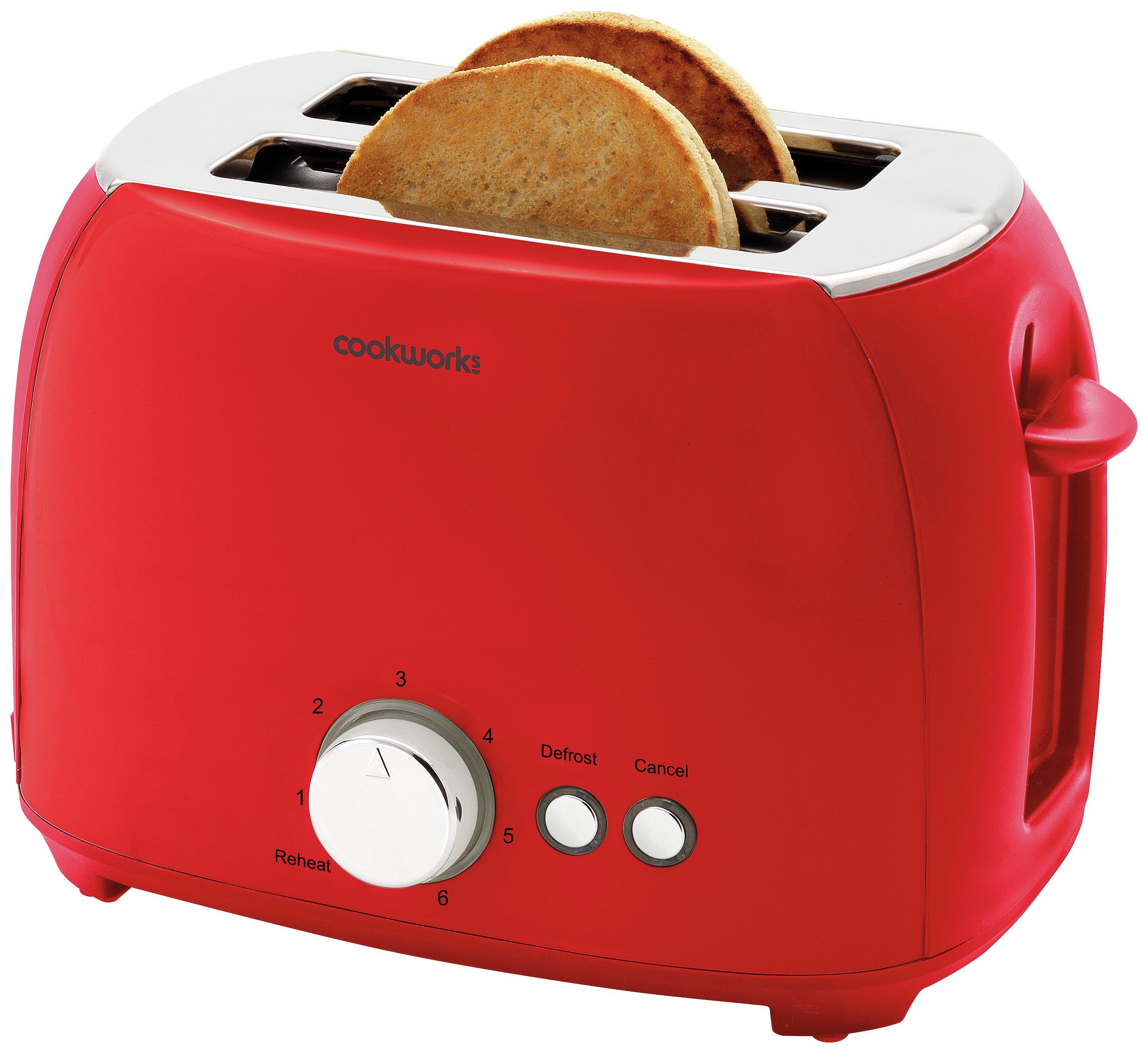 'Cookworks 2 Slice Toaster - Red