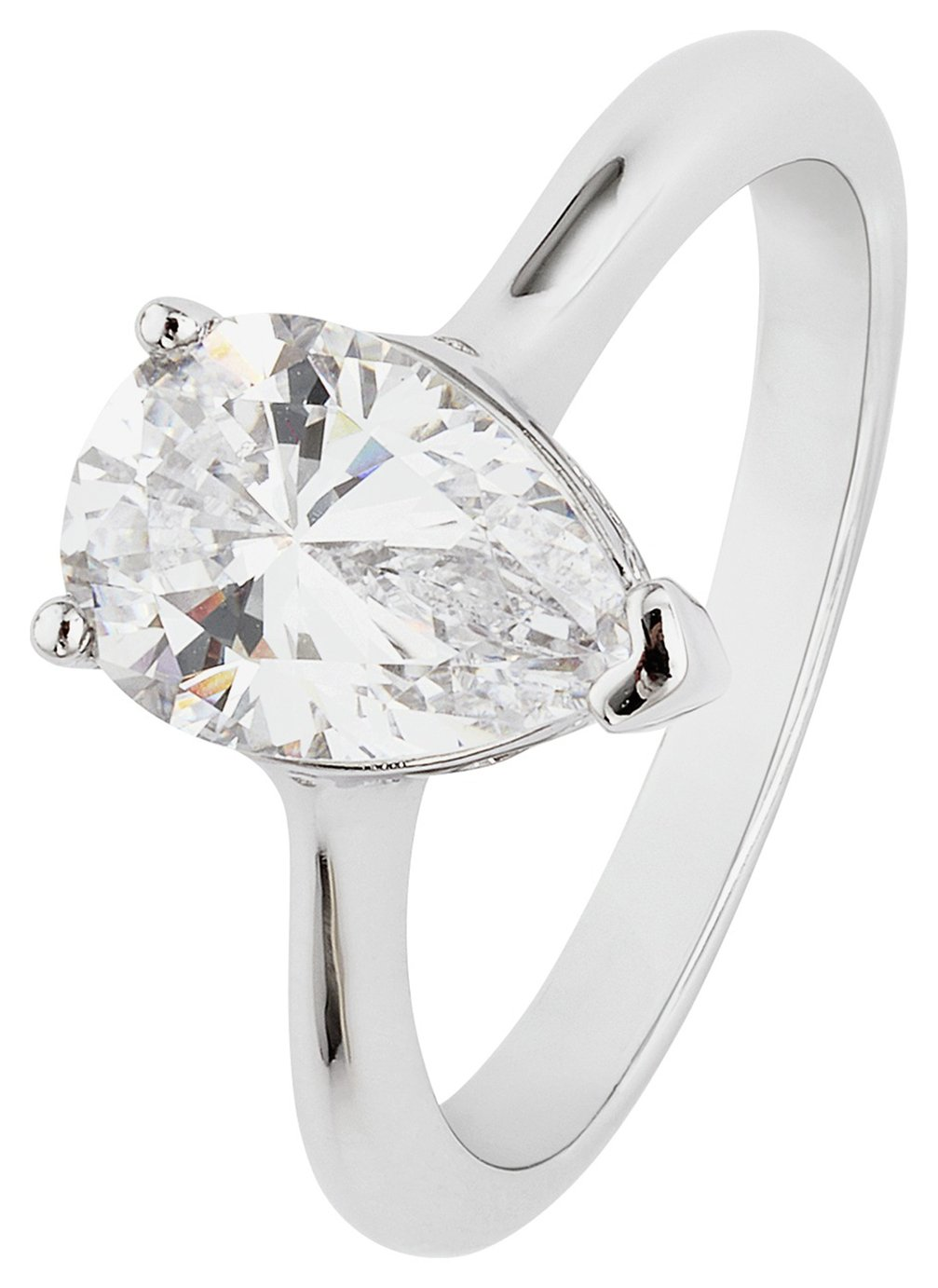 Revere Platinum Plated Silver 2.00ct Look CZ Pear Cut Ring