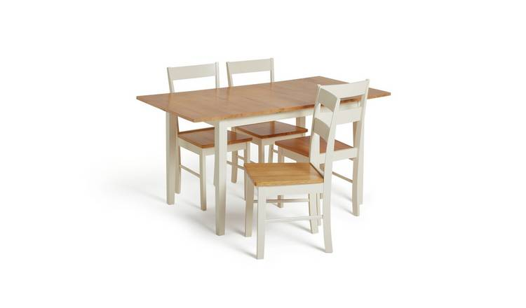 Habitat Chicago Solid Wood Extending Table & 4 Chairs