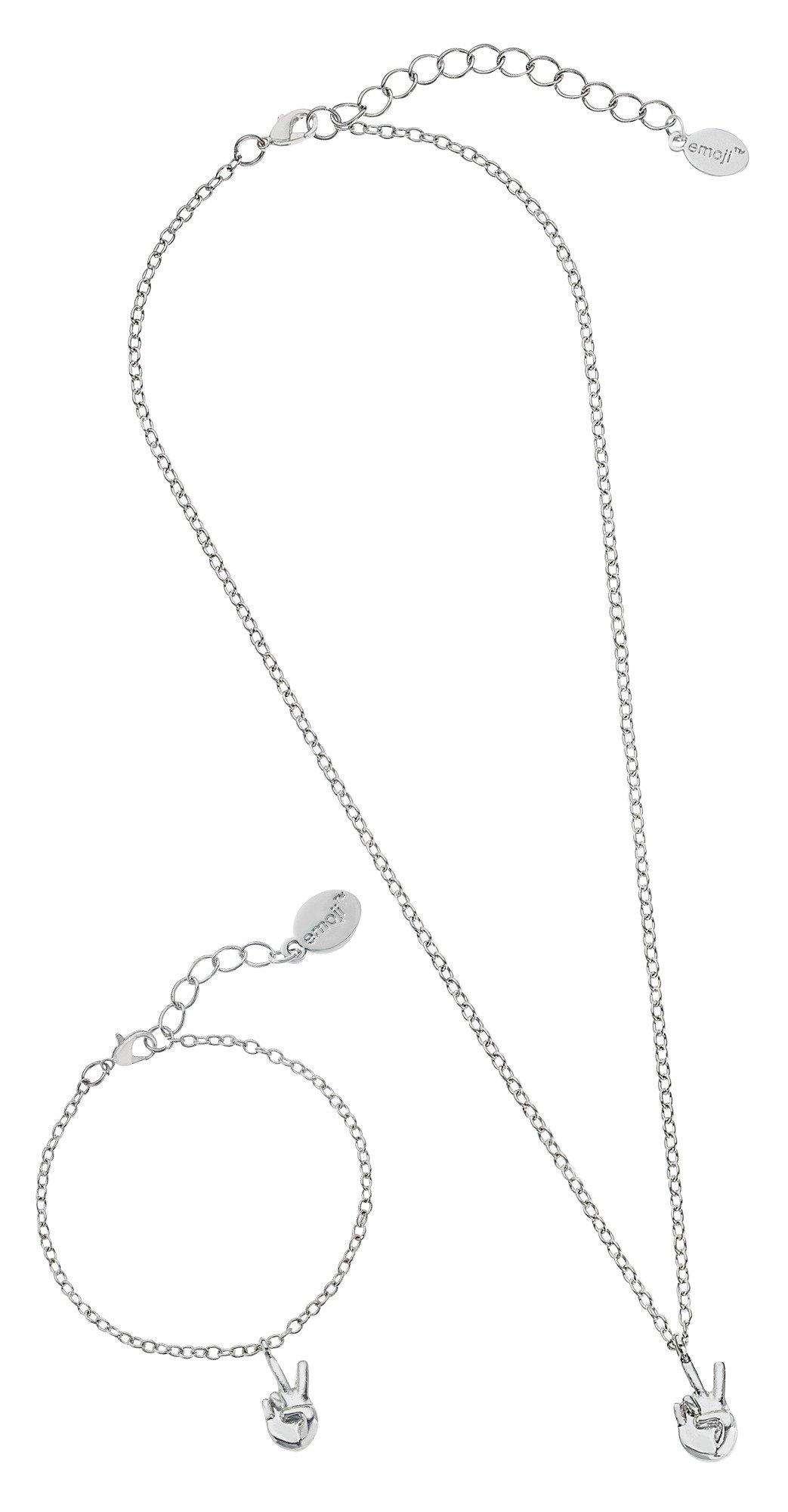 Emoji Silver Colour Peace Pendant and Bracelet Set  (7060892