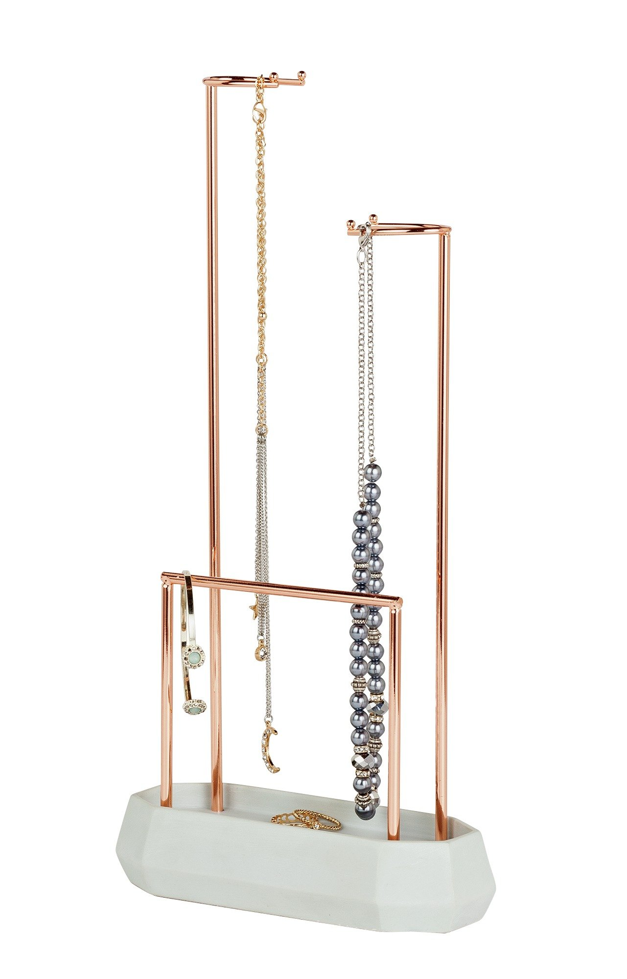 Rose Gold Effect Jewellery Hanger with Concrete Effect Base