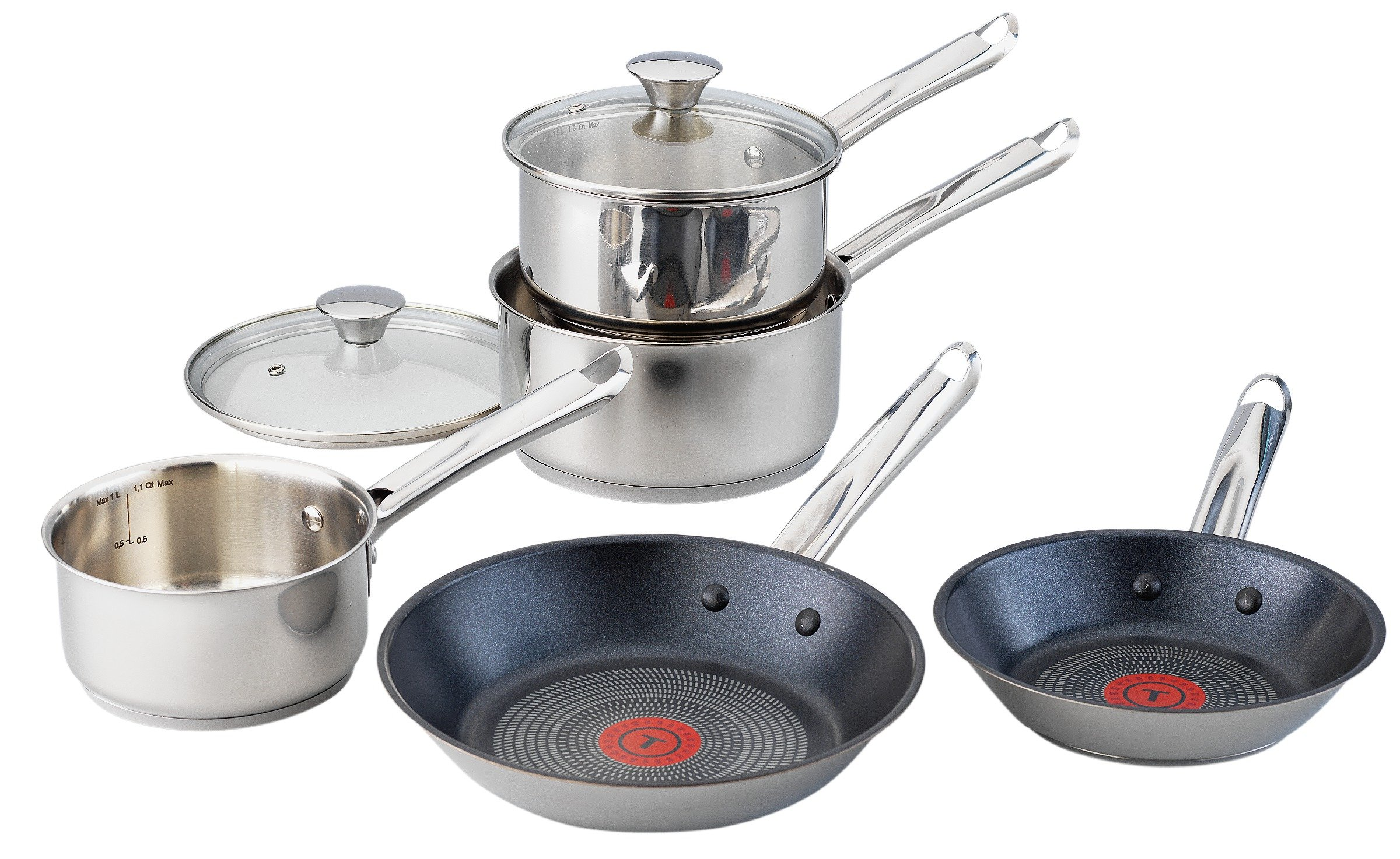 tefal 5 piece non stick stainless steel pan set gay. Black Bedroom Furniture Sets. Home Design Ideas