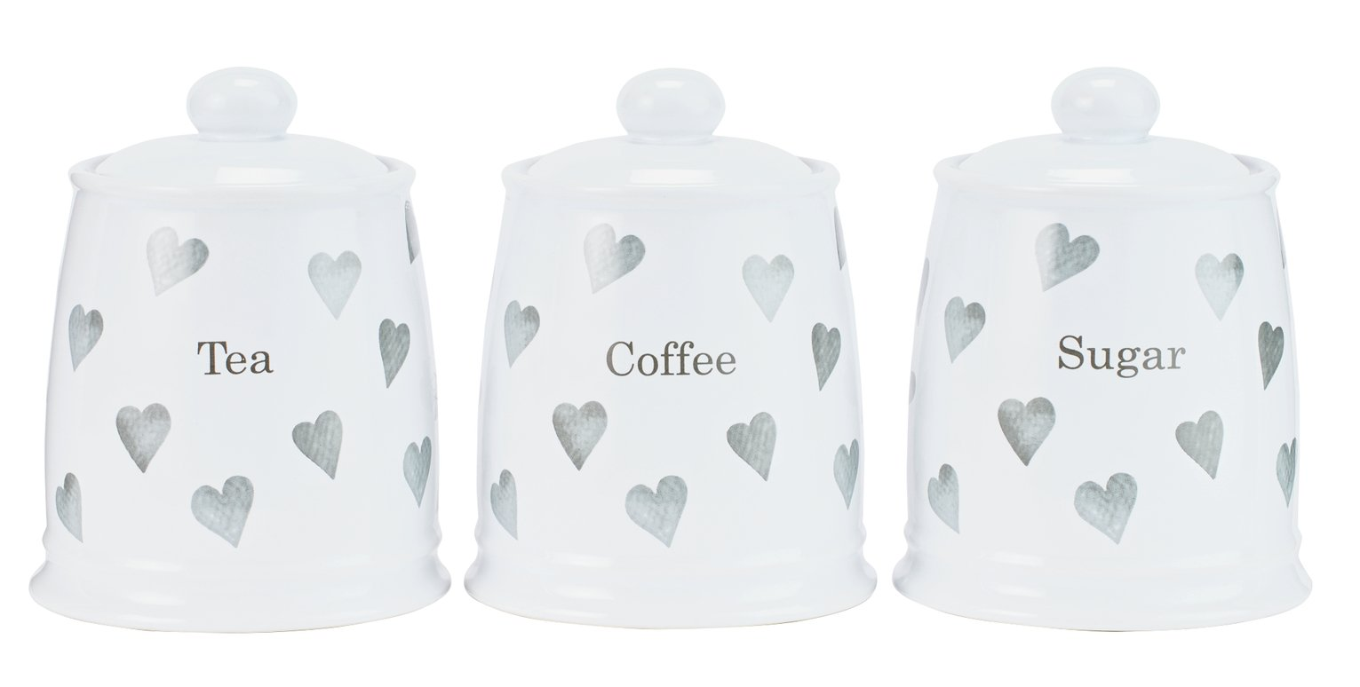 Argos Home Set of 3 Grey Hearts Storage Jars