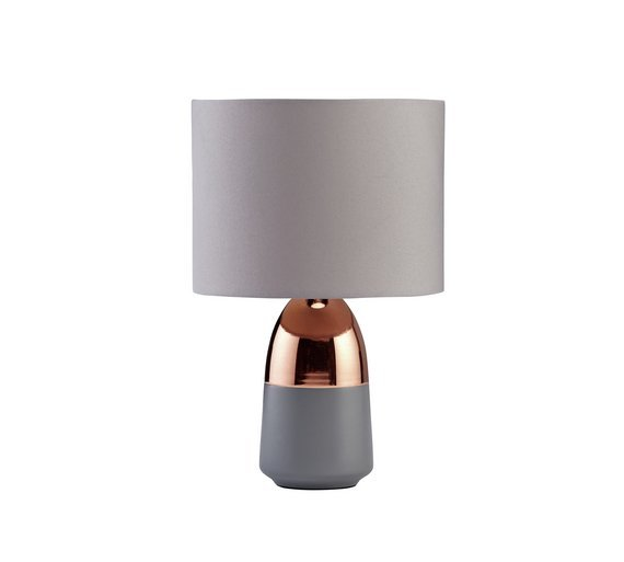 HOME Duno Touch Table Lamp   Grey U0026 Copper