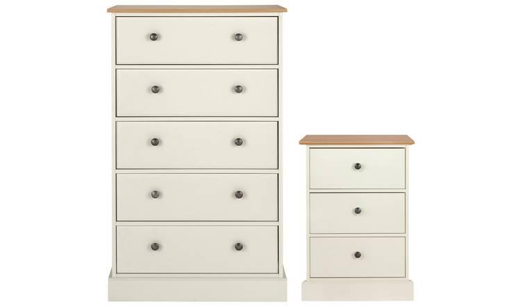 Buy Argos Home Kensington Bedside & 14 Drw Set -Ivory/ Oak Veneer  Bedroom  furniture sets  Argos
