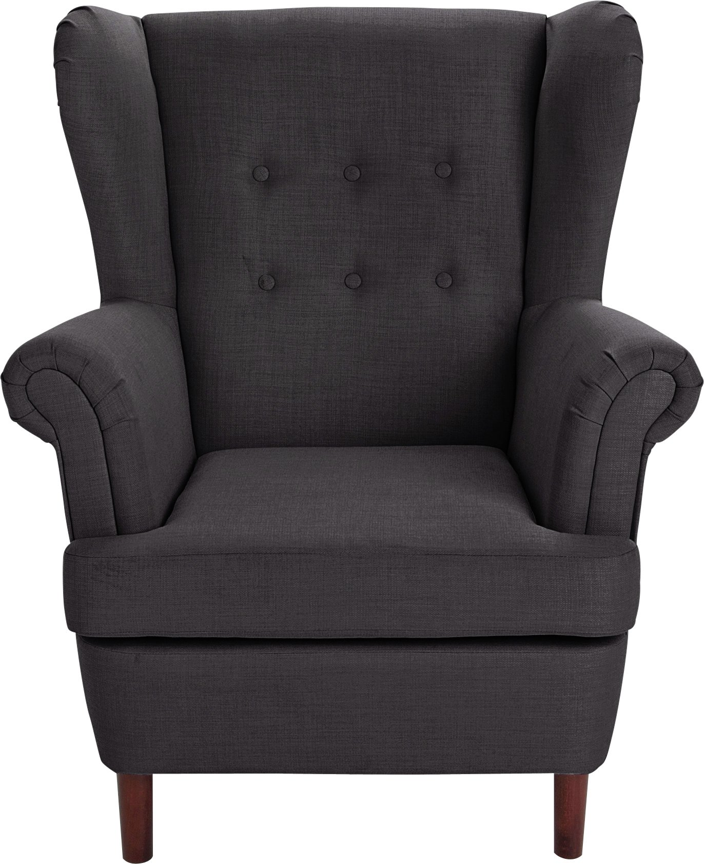 Collection Martha Fabric Wingback Chair - Charcoal