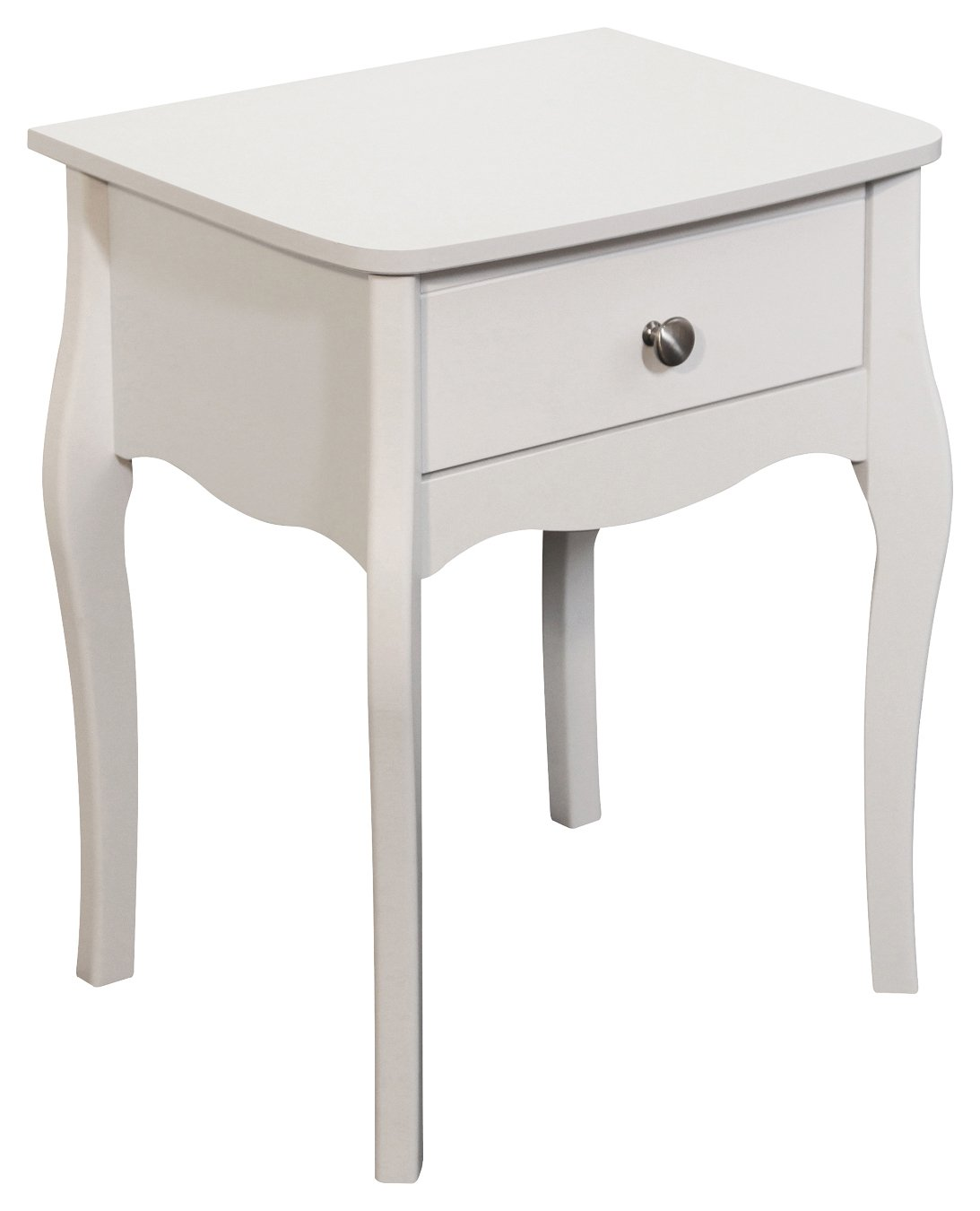 Image of Baroque 1 Drawer Bedside Chest - White