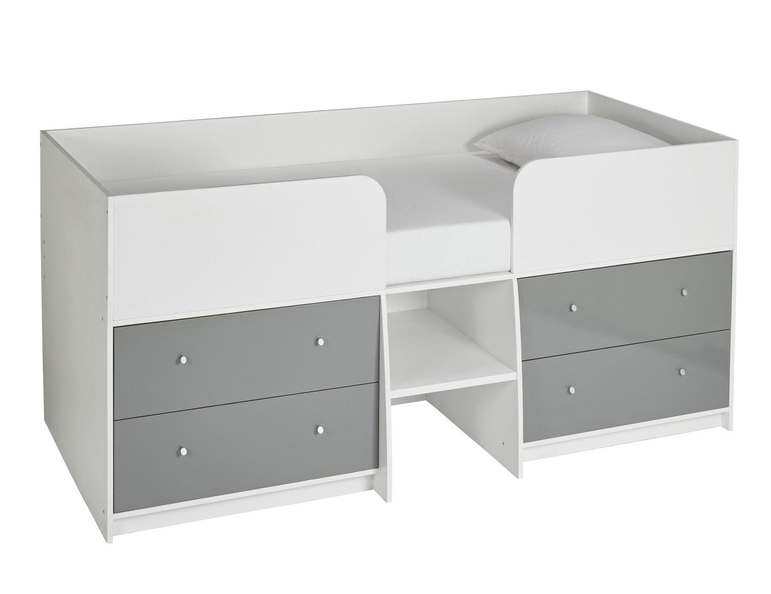 Argos Home Malibu Mid Sleeper - White & Grey Gloss