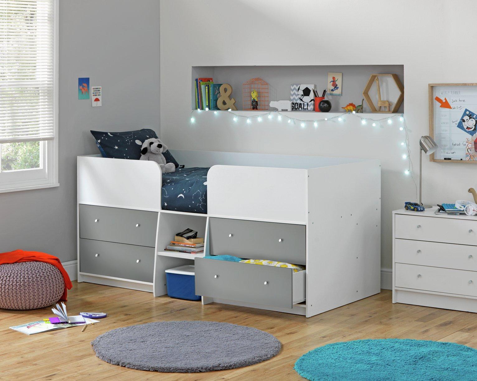 Argos Home Malibu White & Grey Gloss Mid Sleeper Bed Frame