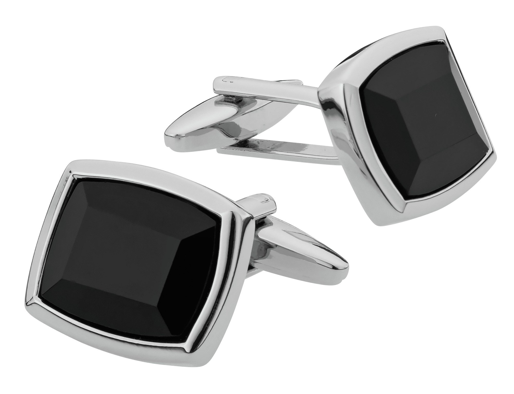 Revere Men's Silver Colour Synthetic Black Onyx Cufflinks