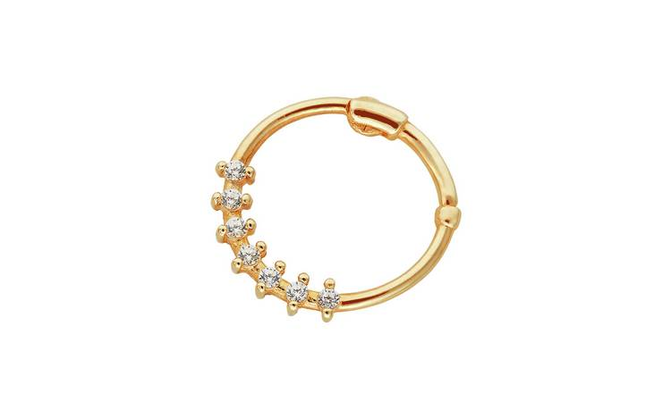 State of Mine 9ct Yellow Gold Cubic Zirconia Nose Hoop