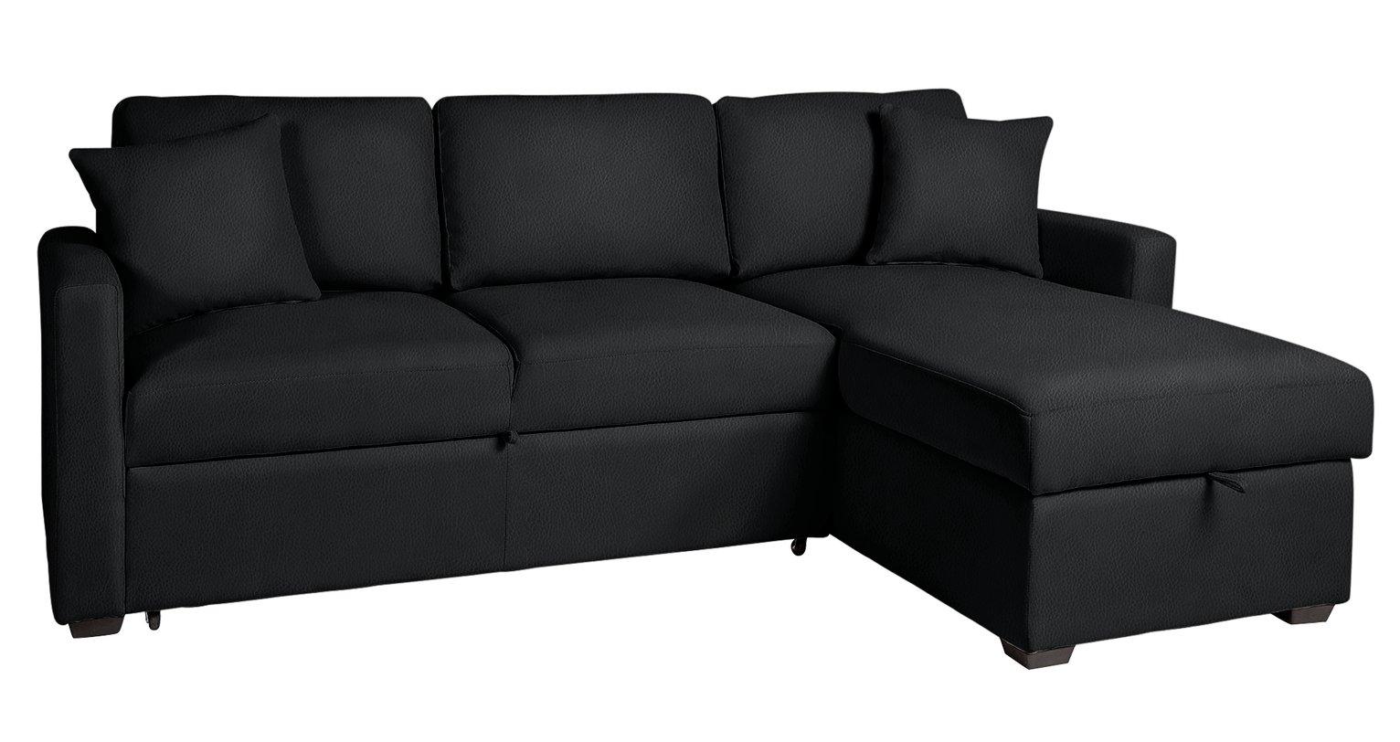 Habitat Reagan Right Corner Faux Leather Sofa Bed - Black