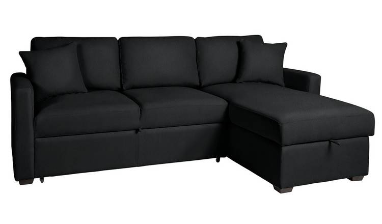 Argos Home Reagan Right Corner Faux Leather Sofa Bed - Black