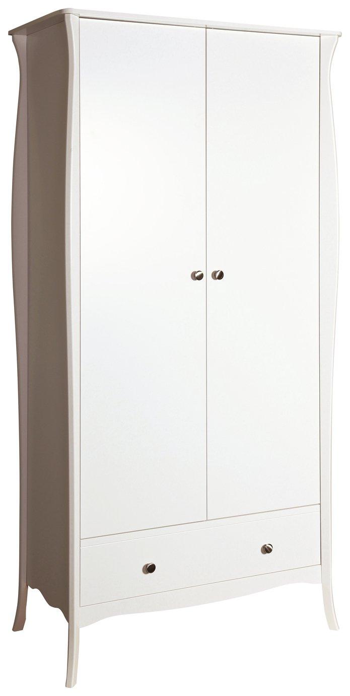 Image of Baroque 2 Door 1 Drawer Wardrobe - White