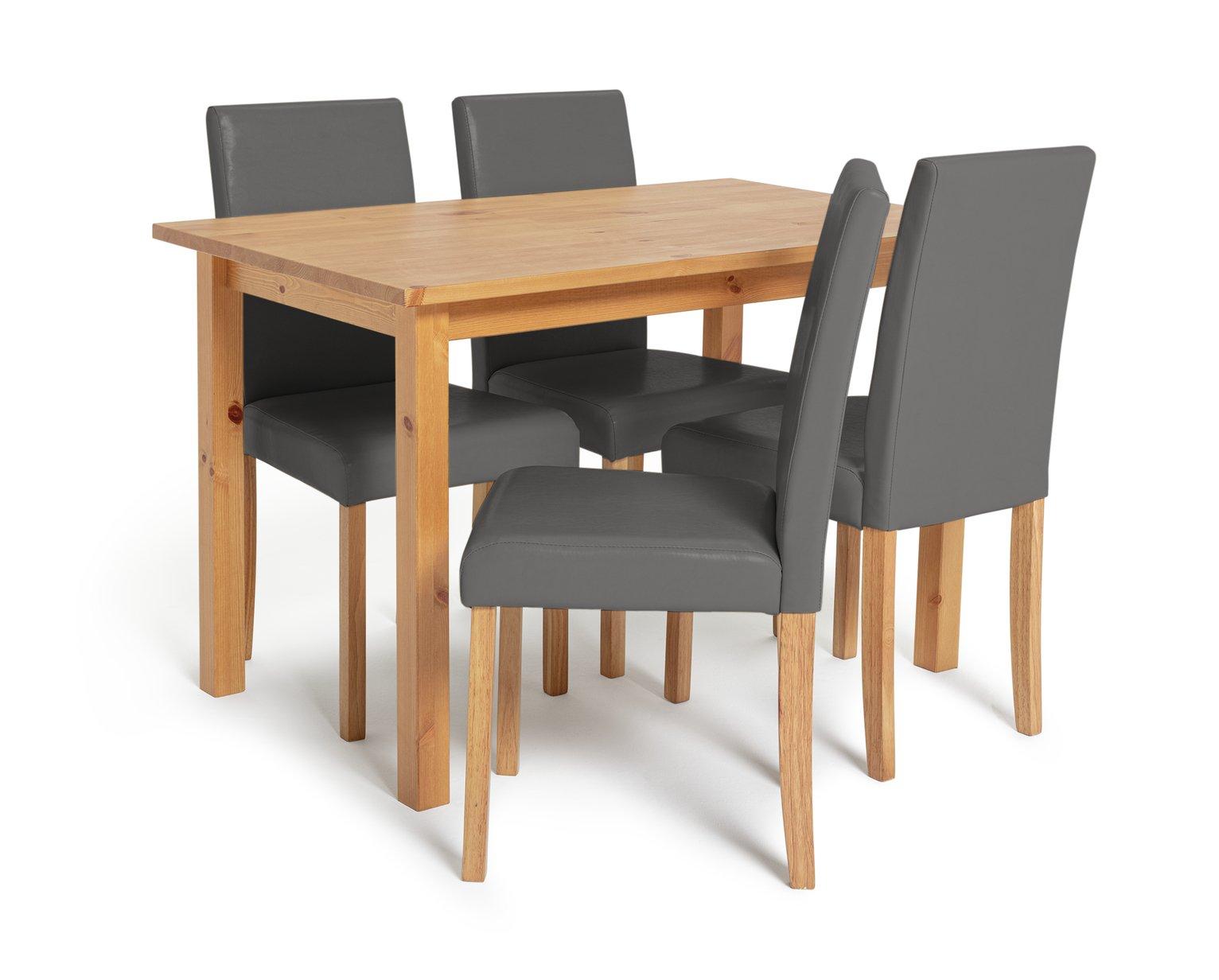 Habitat Ashdon Solid Wood Dining Table & 4 Grey Chairs
