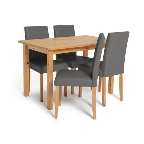 Buy Argos Home Ashdon Solid Wood Dining Table & 4 Grey